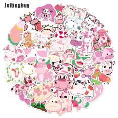 50 Miếng dán Jettingbuy hình chú bò màu hồng dâu tây dùng trang trí vali/ván trượt/máy tính xách tay – INTL
