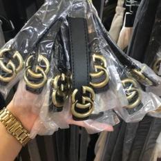 sale Thắt lưng dây nịt nữ da cao cấp mặt hợp kim GG mạ vàng sang trọng dây may 2 viền cưc đep