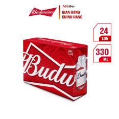 Thùng 24 lon bia Budweiser Chính Hãng (330ml/lon)