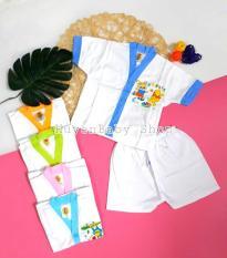 Bộ quần áo sơ sinh tay ngắn màu trắng Hello Baby cho bé từ 3-11,3kg