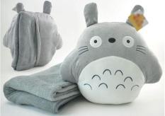 Bộ chăn gối văn phòng 3 in 1 Totoro tròn màu xám