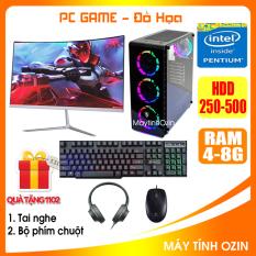 Bộ case PC Game LED CPU Dual Core E7/8xxx / Pentium G2010 / Ram 4GB-8GB / HDD 250GB – SSD 120GB / VGA 1GB – 2GB chơi PUBG mobile, PUBG lite, LOL, CF đột kích, Fifa3, Cs Go, AOE … + Màn hình + [QÙA TẶNG: Bộ phím chuột game + tai nghe] – OZ