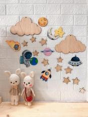 Set Đám Mây Và Ngôi Sao Bằng Gỗ Veneer 3mm Dùng Trang Trí Phòng Bé, Nhà Cửa, Quán Caffe, Làm Đồ Hanmade
