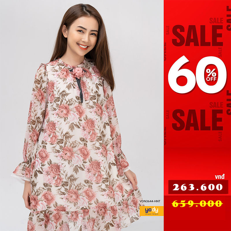 Đầm váy hoa nhí dài tay phối ren váy voan YODY thanh lịch vintage – VDN3644