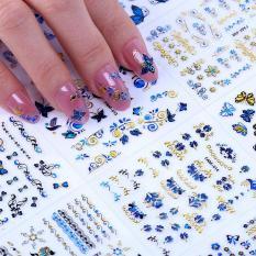 Combo 10 tấm decal dán móng (khoảng 30 hình/tấm) màu xanh nhũ siêu xinh-sticker dán móng