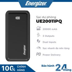 Sạc dự phòng Energizer 20000mAh hỗ trợ sạc nhanh đa nền tảng PD 18W, 3 cổng outputs, 2 cổng inputs – UE20011PQ
