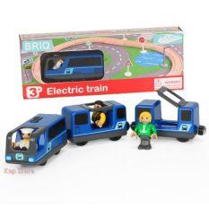 BRIQ, Bộ tàu điện 3 toa chỡ khách, Phụ kiện chơi kèm đường ray xe lửa gỗ HAPE, BRIO, THOMAS, EDWONE, GINIMAG