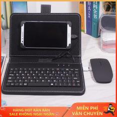 Bàn phím cho điện thoại, Bao da bàn phím, Bao da bàn phím điện thoại kèm thêm chuột nhỏ gọn tiện dụng, hiện đại với công nghệ OTG. GIÁ ƯU ĐÃI HẤP DẪN