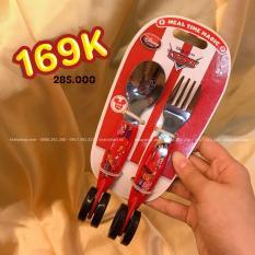 Muỗng và nĩa ăn hình Car Mcqueen chiếc xe hơi đua 95 màu đỏ có bánh xe hàng Disney cho trẻ em – MNCARDIS