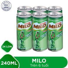 Thùng 24 lon Nestlé MILO Uống Liền – 4 lốc x 6 lon x 240ml