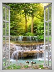 Tranh dán tường cửa sổ khổ dọc 3D VTC Cảnh đẹp khu vườn VT0404-D Kim sa