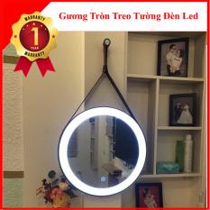 Gương Tròn Treo Tường Dây Da Có Đèn LED TC62
