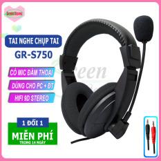 [SIÊU HOT]- Tai nghe chụp tai có mic GR-S750 cao cấp, Tai nghe gaming chân 3.5mm âm thanh vòm dùng cho PC, laptop,điện thoại, tai nghe học trực tuyến, cho quán Internet, loa siêu trầm extrabass[GREEN STORE]
