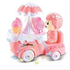 Đồ chơi Búp bê đẩy xe kem đáng yêu có nhạc, đèn, có thể di chuyển
