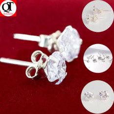 Bông tai bạc nữ trang sức Bạc Quang Thản, khuyên tai nụ đá chốt đeo sát tai gắn đá kim cương nhân tạo sáng chất liệu bạc thật không xi mạ, phong cách đơn giản, thích hợp đeo thời trang, làm quà tặng – QTBT33