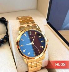 đồng hồ nam halei dây vàng mặt đen HL08 (có video sản phẩm )