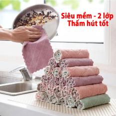 Sét 5 khăn lau đa năng 2 lớp siêu thấm hút – khăn lau bếp, khăn lau chén, khăn lau tay – khan lau da nang – Kích thước 15x25cm