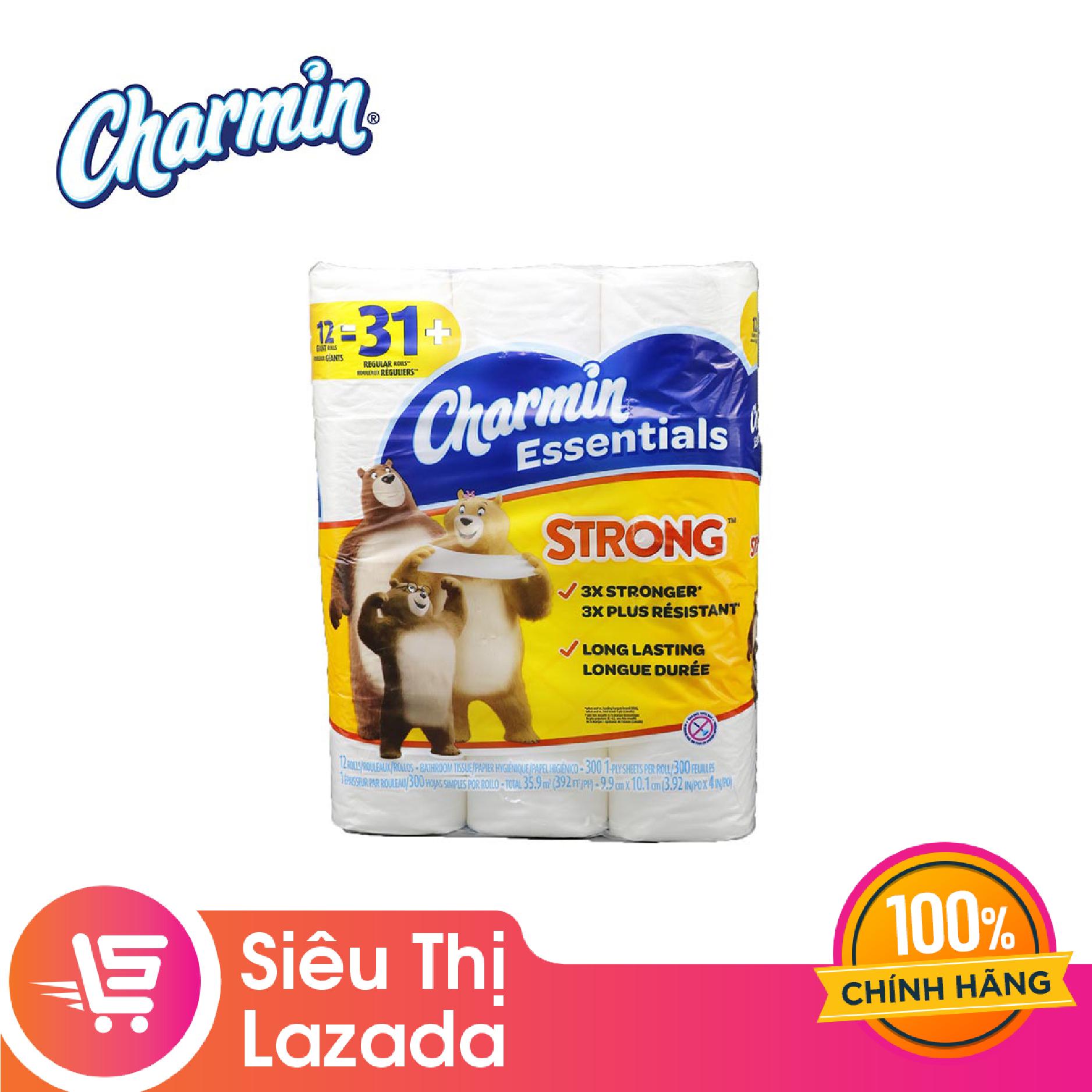 [Siêu thị Lazada] Giấy vệ sinh Charmin Ess. Strong 12 cuộn chất liệu mềm mịn, không rát da khi sử dụng, loại bỏ vết bẩn nhanh chóng
