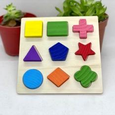 Đồ Chơi Gỗ Montessori – Bộ Hình Khối Gỗ Đa Màu Sắc – Đồ Chơi Giáo Dục Sớm Cho Bé