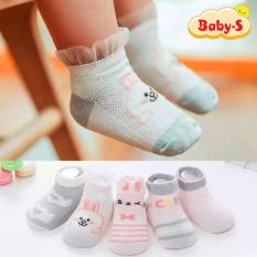 Set 5 đôi tất lưới cotton cổ thấp cho bé 0-2 tuổi chống trơn trượt thấm hút mồ hôi hình thú lạ mắt phối màu sắc xinh xắn Baby-S – ST013