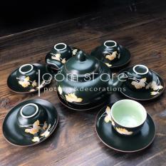 Bộ ấm trà Bát Tràng vẽ hoa sen chìm dáng chóp (Bộ ấm chén trên không kèm khay như hình)