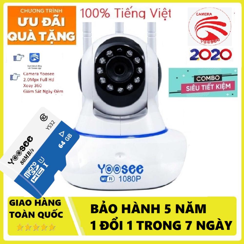 (TẶNG THẺ YOOSEE 64 GB TRỊ GIÁ 450K,1đổi 1 trong vòng 1 năm )Camera WiFi , Camera Trong nhà, ngoài trời SIÊU SẮC NÉT FULL HD 3.0 Mpx 1920 X 1080P,GHI ÂM, GHI HÌNH