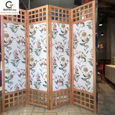 Bình phong bằng gỗ tự nhiên nền vải truyền thống GT504