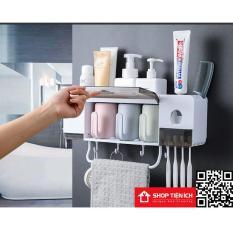 Kệ để đồ nhà tắm tích hợp dụng cụ nhà kem tặng kèm 3 cốc LOẠI TO
