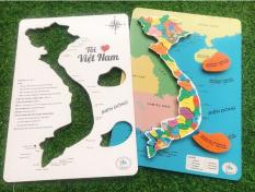 Đồ chơi trẻ em bộ xếp hình tôi yêu Việt Nam mới ToyBox bằng gỗ ( có Nam châm và học liệu đi kèm )