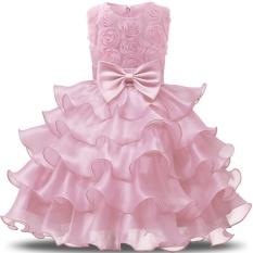 Đầm hoa không tay xếp nhiều tầng và có gắn nơ ở giữ cho bé gái NNJXD – INTL