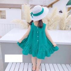 Váy bé gái hè maxi đi biển size Đại 20-34kg Xanh và Trắng XHN625