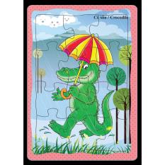 Tranh xếp hình 12 mảnh ghép, Việt Nam. Hình xe, động vật, bé yêu. Đồ chơi trí tuệ cho bé từ 3 tuổi.
