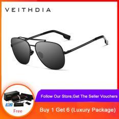 VEITHDIA Thương hiệu kính mát bằng thép không gỉ phân cực UV Quảng trường nam Vintage Sun Glasses phụ kiện kính mắt nam dành cho nam giới 2493
