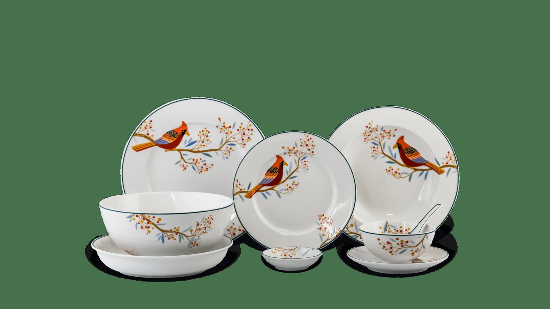 bộ bàn ăn 6 người 23 món Jasmine Quả đầu mùa gốm sứ cao cấp Minh Long I