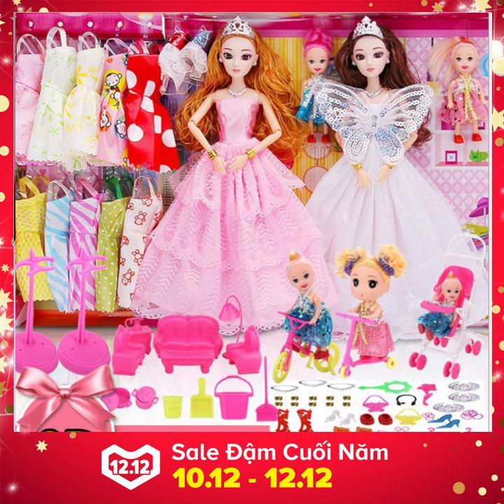 Đồ chơi trẻ em bộ búp bê barbie công chúa đồ chơi bé gái thay áo cưới với hộp quà...