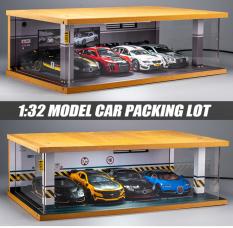 Mô hình parkinglot Gara trưng bày 6 xe mô hình ô tô 1: 32 gara bằng gỗ có đèn chiếu sáng
