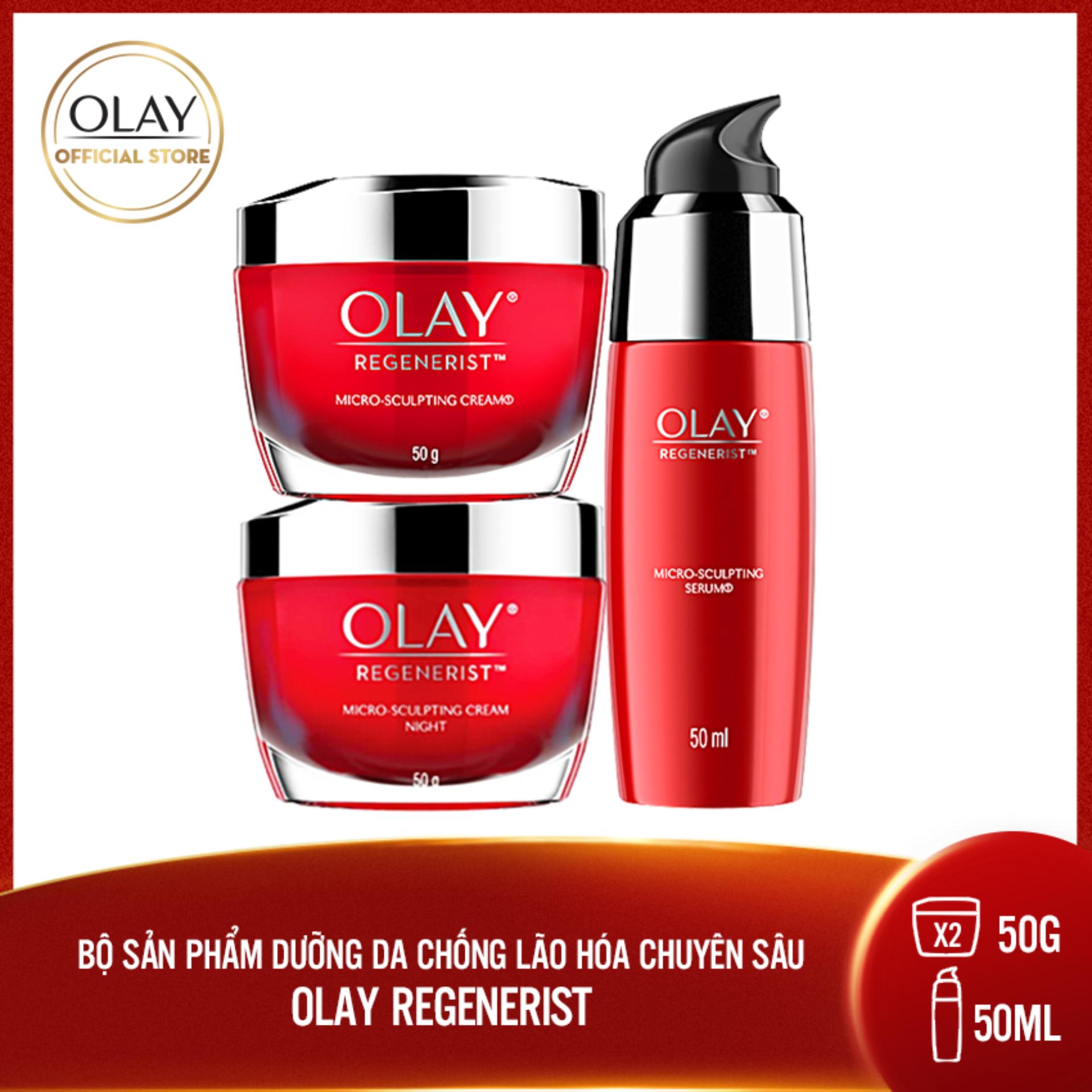 Bộ 3 sản phẩm dưỡng da chống lão hóa chuyên sâu Olay Regenerist Anti Aging: Kem dưỡng ban ngày 50g + Kem dưỡng ban đêm 50g + Serum 50ml