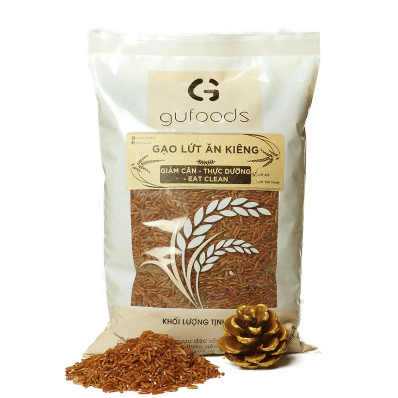 Gạo lứt đỏ ăn kiêng GUfoods (1kg) – Giảm cân – Thực dưỡng – Eat clean
