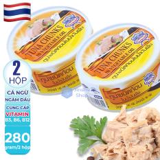 [ LUÔN CHÁY HÀNG VÌ QÚA NGON ] Combo 2 hộp Cá ngừ đại dương đóng hộp ăn liền TUNA CHUNKS Thái Lan 140gr, Hạn sử dụng 05 năm kể từ ngày sản xuất.