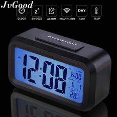 JvGood Đồng hồ có màn hình đèn led kiêm đèn ngủ màn hình 4.6 inch cảm biến ánh sáng sử dụng pin Dimmer hiển thị nhiệt độ phòng và có chức năng báo lại (màu đen) – INTL