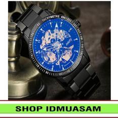 [Có video quay thật] Đồng hồ cơ tự động dây thép không gỉ Nary IDMUASAM 6098 (Dây đen ánh xanh)