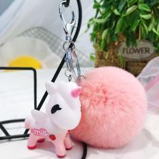 Bộ móc khóa Ngựa Pony hồng dễ thương kèm cục bông lông cực mềm mịn treo cặp, balo, túi xách – MKB01