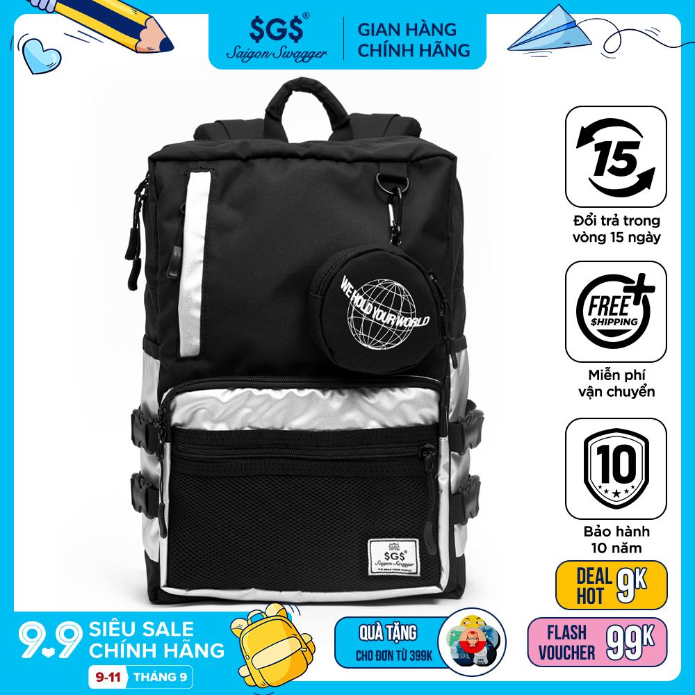 Balo Flex Saigon Swagger SGS (Tặng kèm túi đựng Airpods) - Balo Laptop Thời trang, Chất liệu Polyester tráng PU...