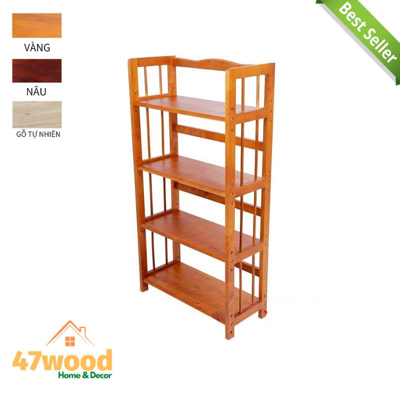 Kệ sách gỗ 4 tầng 40cm,bằng gỗ cao su cao 120cm – kệ gỗ đa năng 4 tầng 40cm
