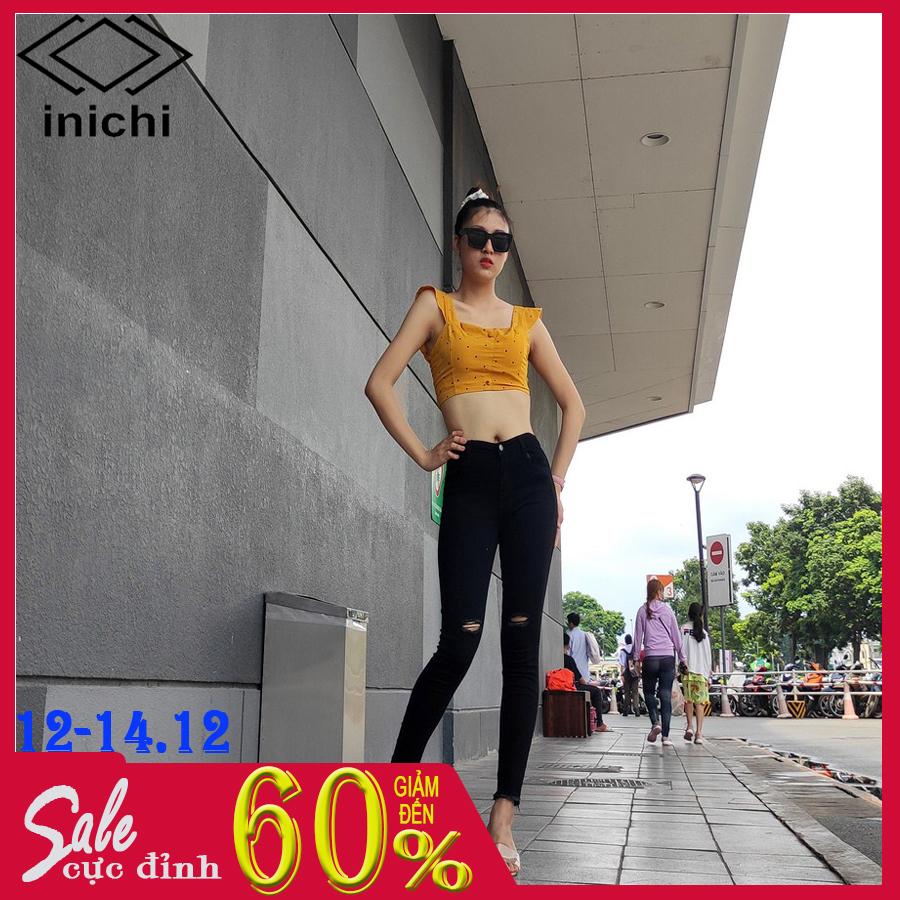 Quần jean nữ lưng cao Q671 quần jean trơn đen rách gối quần ống ôm thời trang cao cấp INICHI