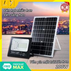 Đèn LED Năng Lượng Mặt Trời Công Suất 100W kèm tấm pin rời, có remote, có cảm biến tự động Cảm Biến Ánh Sáng tự động bật sáng khi trời tối, và tắt đèn khi trời sáng
