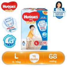 [Giảm 40K đơn 399K] Tã/bỉm quần Huggies Super Jumbo L68 – Gói 68 miếng (Cho bé 9kg – 14kg)