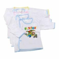 Combo 5 áo sơ sinh tay dài trắng cúc lệch cotton