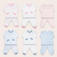 Bộ quần áo Miomio dài tay cài giữa 100% cotton mỏng mát