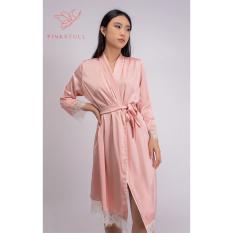 Áo choàng lụa Pijamas Pink Stull trơn màu hồng và trắng- ren trắng Freesize